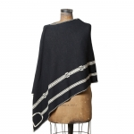 Black with Flax Knit Eco Stirrup Poncho