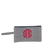 Natural and Navy Striped Clutch