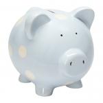 Ceramic Blue Dot Piggy Bank