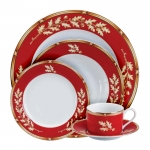 Gold Oak Red 5-Piece Place Setting