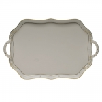 Golden Edge Rectangular Tray with Branch Handles