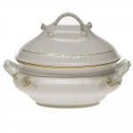 Golden Edge 4 Quart Tureen with Branch Handles