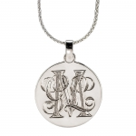 Hand-Engraved Sterling Silver Disc Pendant, Large
