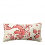 Hand Painted Coral Flourish Lumbar Pillow