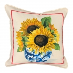 Hand Painted Sunflower in Blue Vase Pillow