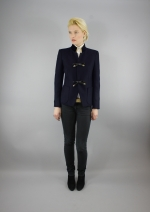 Lina Boiled Wool Coat in Navy size 6