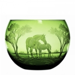 Mare and Foal Green Bowl