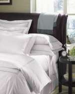 Grande Hotel White/Taupe Standard Pillowcases, Pair