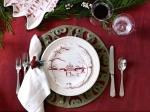 Country Estate Winter Frolic Party Plates, Set of Four