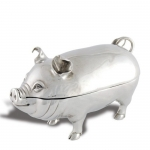 Pig Pewter Covered Butter Dish