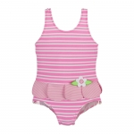 Pink Striped Swimsuit with Petal Skirt size 6 M