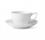 White Fluted Tea Cup and Saucer