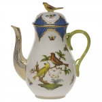 Rothschild Bird Blue Border Coffee Pot with Bird