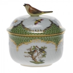 Rothschild Bird Green Border Covered Sugar with Bird