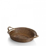 Rattan Large Oval Tray with handles