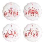 Country Estate Reindeer Games Set of 4 Tidbit Plates