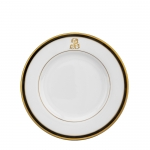 Signature Monogram Collection Gold with Black Rim Salad Plate