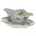 Queen Victoria Green Gravy Boat with Fixed Stand