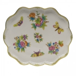 Queen Victoria Green Scalloped Tray