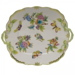 Queen Victoria Green Square Cake Plate with Handles