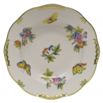 Queen Victoria Green Rim Soup Plate