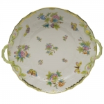 Queen Victoria Green Chop Plate with Handles