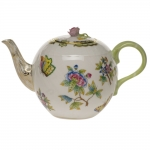Queen Victoria Green 36 Ounce Teapot with Rose