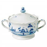 Country Estate Delft Blue Lidded Sugar/Jam Bowl