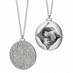 Sterling Silver 1.5\ round half-locket charm necklace featuring vine pattern, 36\ chain