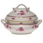 Chinese Bouquet Raspberry Tureen with Branch Handles