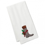 Christmas Riding Boot Embroidered Tea Towel