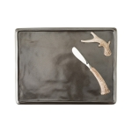 Forest Pewter Serving Board and Two Spreaders