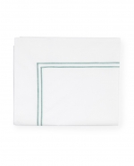 Grande Hotel White/Aqua Full/Queen Flat Sheet