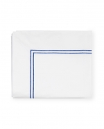 Grande Hotel White/Cornflower Blue Full/Queen Flat Sheet