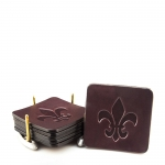 Custom Embossed Leather Coasters, Set of Six