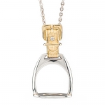 Gold and Sterling Stirrup Pendant