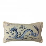 Hand Painted Blue Dragon Lumbar Pillow