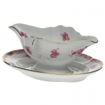 Chinese Bouquet Raspberry Gravy Boat with Fixed Stand