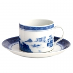 Blue Canton Can Teacup and Saucer