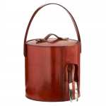 Leather Ice Bucket with Tongs
