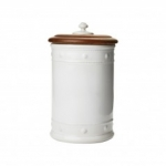 Berry & Thread Whitewash Canister with Wooden Lid, Large