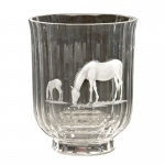 Mare and Foal Engraved Vase