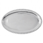 Pearled Oval Platter Mariposa\'s fine metal is handcrafted from 100% recycled aluminum.