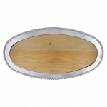 Pearled Oval Platter with Wood Insert