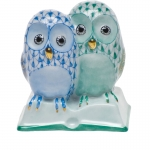 Blue/Green Pair of Owls on a Book