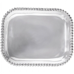 Pearled Rectangle Platter A multitude of pearls provide a luxurious border around the polished, silver interior of this pearled rectangular platter. Handcrafted from 100% recycled aluminum.