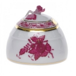 Raspberry Honey Pot with Rose Finial