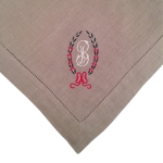 Olive Dinner Napkins with Custom Monogram