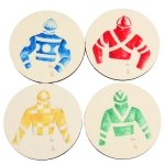 Silks Set/4 Round Coasters