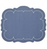 Scalloped Rectangular Blue Placemat